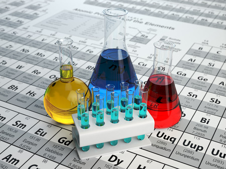 periodic table: Science chemistry concept. Laboratory test tubes and flasks with colored liquids on the periodic table of elements.  3d illustration Stock Photo