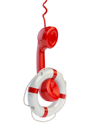 Help or support service concept. Telephone reciever and lifebouy isolated on white. 3d illustration Stock Photo