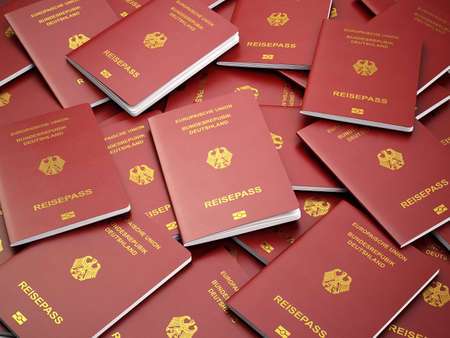 federal republic of germany: Germany passport background. Immigration or travel concept. Pile of german passports. 3d illustration Stock Photo