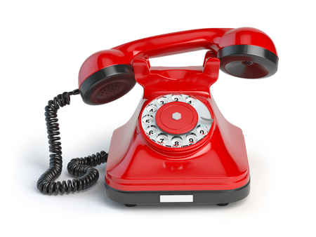 Vintage red telephone isolated on white background. 3d illustration. Retro styled telephone Stock Photo