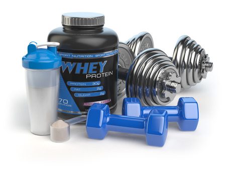 kilos: Whey protein with dumbbells and shaker. Sports bodybuilding  supplements or nutrition. Fitness or healthy lifestyle concept. 3d illustration Stock Photo
