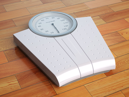 kilos: Scales on the wooden floor. Weight control. 3d illustration Stock Photo