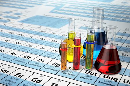 Science chemie concept. Laboratoriumtest buizen en kolven met gekleurde vloeistoffen op het periodiek systeem der elementen. 3d illustratie