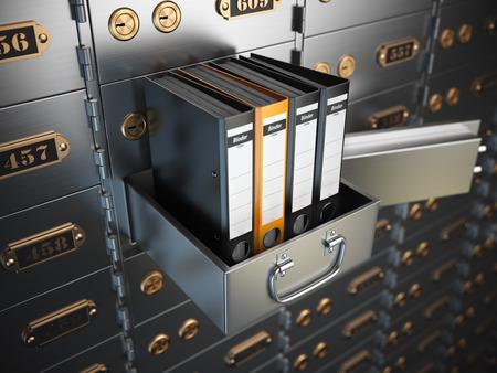 Ringordner auf einem Safe. Vertrauliche Informationen Konzept. 3D-Darstellung Standard-Bild