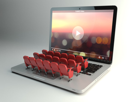 Video player app of home cinema concept. Laptop en rijen van bioscoopstoelen, 3d illustratie