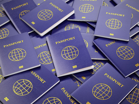 custom: Passport.  Travel turism or customs concept background. 3d illustration