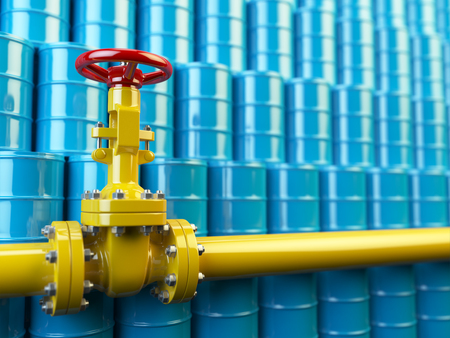 gas pipe: Yellow gas pipe line valves and blue oil barrels. Fuel and energy industrial concept. 3d illustration