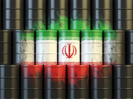 iranian: Iranian oil fuel energy concept. Iranian flag painted on oil barrels. 3d illustration