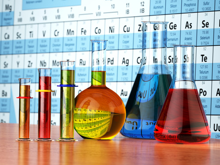 periodic: Science chemistry concept. Laboratory test tubes and flasks with colored liquids on the periodic table of elements.  3d illustration Stock Photo