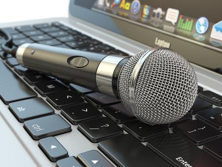 Microphone on the laptop keyboard. Digital audio  music software or karaoke concept. 3d illustration