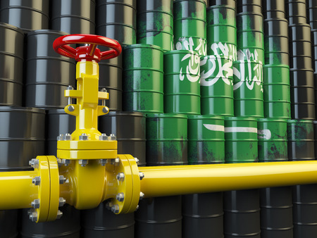 oil pipe: Oil pipe line valve in front of the Saudi Arabia flag on the oil barrels.  Gas and oil fuel energy concept. 3d illustration Stock Photo