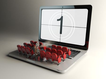 iptv: Video player application  or home cinema concept. Laptop and rows of cinema seats, 3d illustration Stock Photo