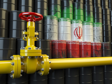 oil pipe: Oil pipe line valve in front of the Iranian flag on the oil barrels. Iranian gas and oil fuel energy concept. 3d illustration