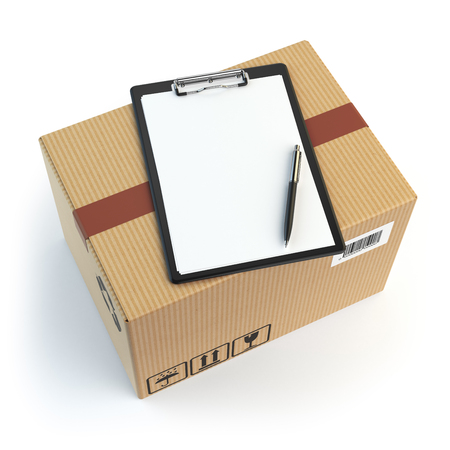 cardbox: Delivery concept. Cardbox, pen and clipboard with receiving form isolated on white. 3d illustration