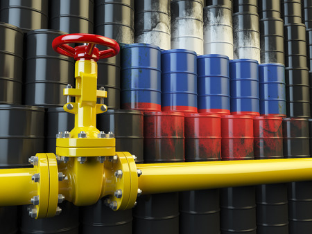 oil pipe: Oil pipe line valve in front of the russian flag on the oil barrels. Iranian gas and oil fuel energy concept. 3d illustration