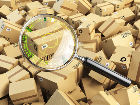 tracking: Delivery, shipping, logistics concept. Cardboard box tracking search. Loupe with aim and boxes. 3d illustration Stock Photo