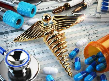 overdose: Healthcare medical concept. Pills, capsules, stethoscope, syringe and caduceus sign on the blood test results. 3d illustration