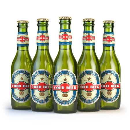 unopened: Beer bottles with label cold beer isolated on white. 3d illustration Stock Photo