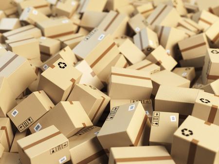倉庫や配送概念の背景。段ボール配送ボックスまたは小包のヒープ。3 d イラストレーション