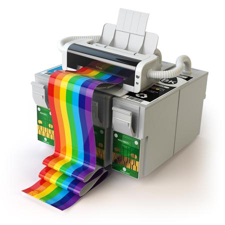 reciclar: cartuchos de impresora y CMYK para la impresora de inyección de tinta de color aislados en blanco. 3d ilustración Foto de archivo