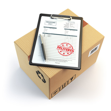 delivered: Delivery concept. Cardboard box, pen, clipboard with receiving form and stamp delivered isolated on white. 3d illustration