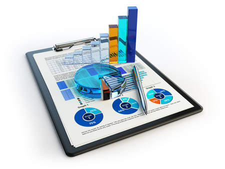 illustraion: Business financial chart graph on clipboard isolated on white. Accounting, tax financial  report concept. 3d illustraion