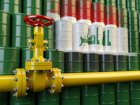 oil pipe: Oil pipe line valve in front of the flag of Iraq on the oil barrels. Iraqi gas and oil fuel energy concept. 3d illustration