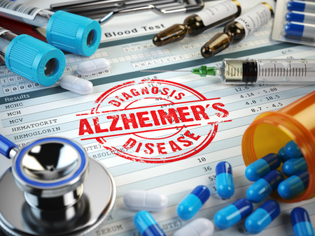 amnesia: Alzheimers disease diagnosis. Stamp, stethoscope, syringe, blood test and pills on the clipboard with medical report. 3d illustration