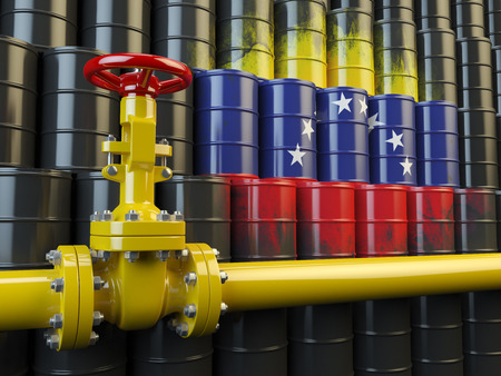 oil pipe: Oil pipe line valve in front of the flag of Venezuela on the oil barrels. Venezuelan gas and oil fuel energy concept. 3d illustration