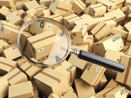search box: Delivery, shipping, logistics concept. Cardboard box tracking search. Loupe and boxes. 3d illustraion