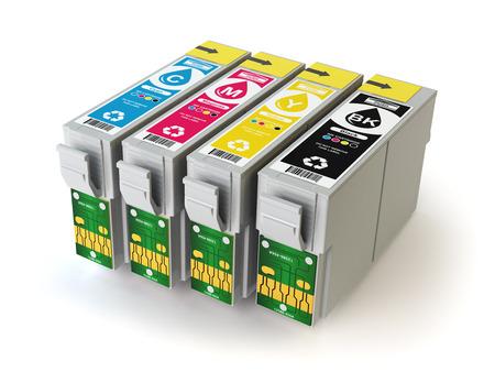 chorro: Cartuchos de CMYK para la impresora de inyección de tinta de color aislados en blanco. 3d ilustración