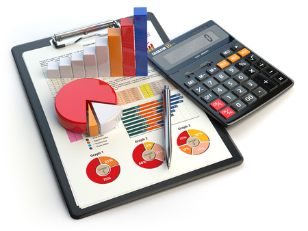 Gráfico financiero de la carta de negocios en el sujetapapeles aislado en blanco. Contabilidad, informe financiero concepto de impuestos. illustraion 3d