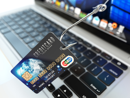 credit risk: ?redit card phishing concept. Hook with credit card and laptop computer keyboard. 3d illustration