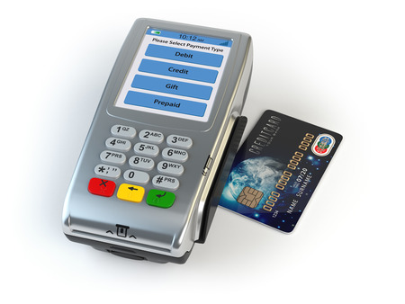 cardreader: POS terminal with credit card isolated on white. 3d illustration