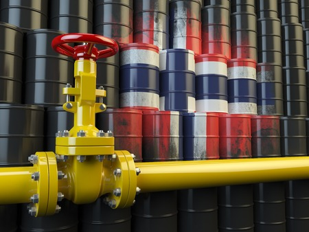 norwegian flag: Oil pipe line valve in front of the flag of Norway on the oil barrels. Norwegian gas and oil fuel energy concept. 3d illustration