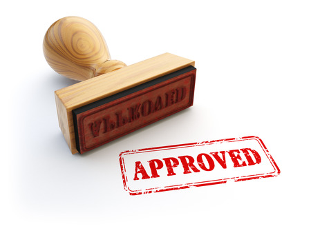 approval stamp: Stamp Approved isolated on white. Agreement or approval concept. 3d illustration