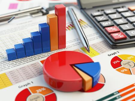 konzepte: Geschäftsfinanzdiagrammdiagramm auf Zwischenablage isoliert auf weiß. Rechnungswesen, Steuern Finanzbericht Konzept. 3d illustraion Lizenzfreie Bilder