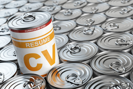 curriculum vitae: Cv curriculum vitae can.  Candidate job position. Conceptual image of resume or recruitment. 3d illustration Stock Photo