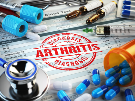 spondylitis: Arthritis diagnosis. Stamp, stethoscope, syringe, blood test and pills on the clipboard with medical report. 3d illustration Stock Photo