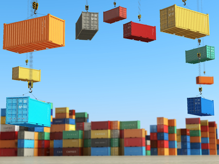 Cargo containers in storage area with forklifts. Delivery  or shipping background concept. 3d illustration Фото со стока