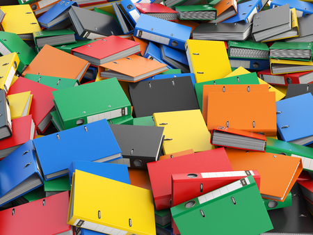 organize: File binders or folders with documents. Paperwork office colourful background. 3d illustration
