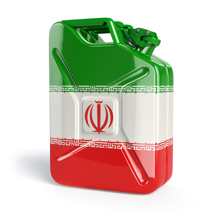 barel: Oil of Iran. Iranian flag painted on gas can. 3d illustration