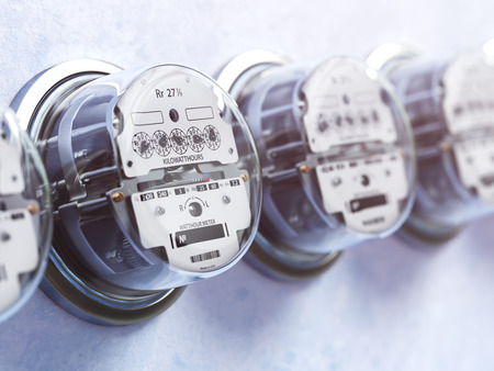 barel: Row of analog electric meters. Electricity consumption concept. 3d illustration