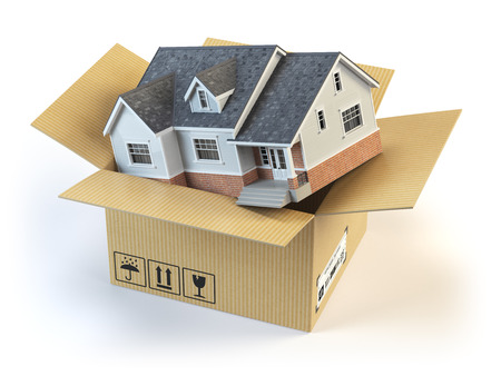 Moving house. Real estate market. Delivery concept. Cardboard box and home isolated on white. 3d illustration Standard-Bild