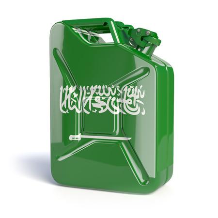 barrels: Oil of Saudi Arabia. Saudi arabian flag painted on gas can. 3d illustration
