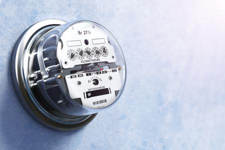 contador electrico: medidor de electricidad analógica en la pared. concepto de consumo de energía eléctrica. 3d ilustración