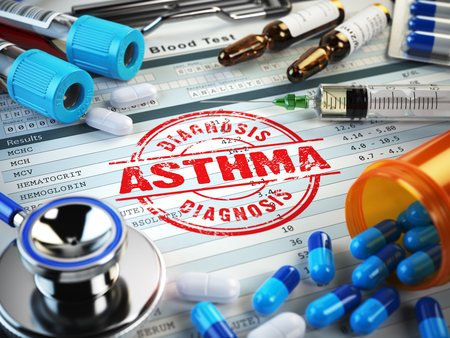 chronic bronchitis: Asthma diagnosis. Stamp, stethoscope, syringe, blood test and pills on the clipboard with medical report. 3d illustration