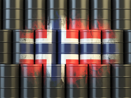 norwegian flag: Oil fuel of Norway energy concept. Norwegian flag painted on oil barrels. 3d illustration
