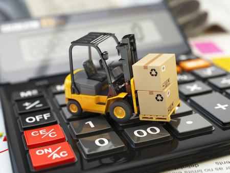 Forklift with cardboxes on calculator. Calculation of shipping delivery costs concept. 3d illustration Foto de archivo