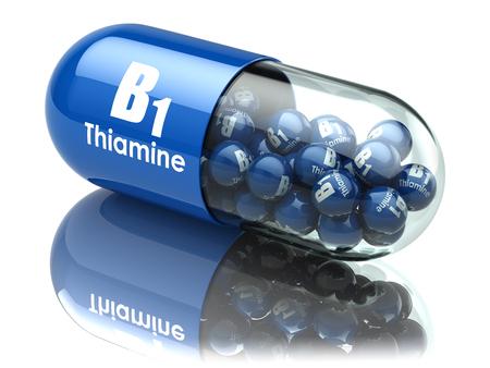 Vitamin B1 Kapsel. Pille mit Thiamin. Nahrungsergänzungsmittel. 3D-Darstellung Standard-Bild